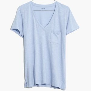 Madewell Blue Cotton V-Neck Pocket Tee Shirt XXS